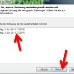 Entsprechend Ihrer Einstellung zum Löschen älterer Backups stehen mehrere Datensicherungen zur Verfügung. Dadurch stellen Sie beispielsweise auch eine Dateiversion von vor drei Tagen her. Wählen Sie aus, aus welcher Sicherung Sie Dateien wiederherstellen möchten. (Bild: Screenshot)