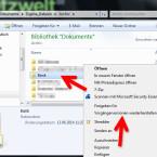 """Ab Windows 7 stellen Sie Dateien aus einem Wiederherstellungspunkt oder zuvor angelegten Backup wieder her. Ist die Datei bereits gelöscht, navigieren Sie im Windows Explorer zum Ordner, in dem die Datei gespeichert war. Klicken Sie den Ordner mit der rechten Maustaste an und wählen Sie im Kontextmenü den Eintrag """"Vorgängerversionen wiederherstellen"""". (Bild: Screenshot)"""