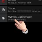 """Sie finden die App zunächst nur in der Benachrichtigungsleiste. Ziehen Sie diese nach unten und tippen Sie auf den Eintrag """"MyPhoneExplorer Client"""", um die App zu öffnen. (Bild: Screenshot)"""