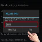 """Denken Sie sich einen PIN-Code aus und geben Sie diesen ein. Den gleichen Code müssen Sie später auch auf Ihrem PC eingeben, um die Verbindung herzustellen. Bestätigen Sie Ihre Eingabe mit einem Klick auf """"OK"""". (Bild: Screenshot)"""