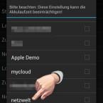 """Suchen Sie in der Liste das oder die WLAN-Netze, bei deren Einwahl der MyPhoneExplorer Client automatisch starten soll. Aktivieren Sie das Häkchen hinter dem WiFi-Netz, indem Sie dieses anklicken. Bestätigen Sie Ihre Wahl mit einem Klick auf """"OK"""". Sobald Sie sich zukünftig in die definierten WLAN-Netze einwählen, wird der MyPhoneExplorer Client automatisch gestartet.  (Bild: Screenshot)"""