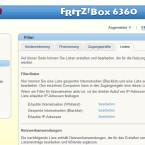 """Navigieren Sie zunächst zum Punkt """"Internet/Filter/Listen"""" und rufen Sie eine der Filterlisten auf, beispielsweise die Blacklist für gesperrte Websites. (Bild: Screenshot Fritz!Box)"""