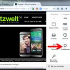 """Die Rechtschreibprüfung aktivieren Sie zunächst in den Einstellungen des Firefox Webbrowsers. Klicken Sie dazu rechts neben der Adresszeile auf die drei Striche und wählen Sie im Menü """"Einstellungen"""" aus. (Bild: Screenshot/Mozilla Firefox)"""