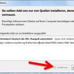 """Die angezeigte Sicherheitswarnung bestätigen Sie mit einem Klick auf den Button """"Installieren"""". Dadurch wird das Wörterbuch in Ihrem Firefox Browser installiert. (Bild: Screenshot/Mozilla Firefox)"""