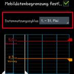 Hinter Datennutzungszyklus legen Sie Ihren Abrechnungszeitraum fest. So bestimmen Sie beispielsweise, dass Ihr Abrechnungszeitraum immer vom zehnten eines Monats bis zum zehnten des Folgemonats geht. (Bild: Screenshot)