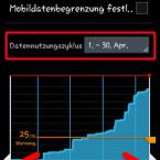 Das genutzte Datenvolumen lassen Sie sich anzeigen, indem Sie im Auswahlfeld hinter Datennutzungszyklus den Abrechnungszeitraum auswählen. Mit den weißen Linien links und rechts schränken Sie die Anzeige auf einen individuellen Zeitraum innerhalb des Abrechnungszeitraums ein. Darunter sehen Sie den Verbrauch für den ausgewählten Zeitraum. (Bild: Screenshot)
