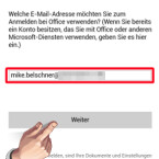"""Geben Sie im ersten Schritt die E-Mail-Adresse für Ihr Microsoft-Konto an. Dabei spielt es keine Rolle, ob es sich um ein OneDrive-, Office 365- oder SharePoint-Konto handelt. Bestätigen Sie Ihre Eingabe mit """"Weiter"""". Falls Sie noch kein Microsoft-Konto besitzen, geben Sie Ihre E-Mail-Adresse an, unter der Sie ein neues Konto einrichten möchten. Sie erhalten einen Link, über den Sie ein neues Konto anlegen. (Bild: Screenshot/Microsoft Office Mobile)"""