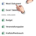 """Tippen Sie auf die rechte Registerkarte, um ein neues Word-Dokument zu erstellen. Das geht entweder, wie von Word gewohnt, mit einem leeren Blatt oder mit einer Vorlage. In """"Microsoft Office Mobile"""" sind die Vorlagen auch dringend nötig, da Sie beispielsweise keine Gliederung oder Aufzählungspunkte selbst einfügen können. (Bild: Screenshot / Microsoft Office Mobile)"""
