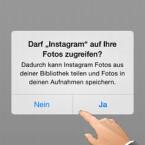 Wollen Sie Ihr Profilbild über die Bibliothek Ihres Geräts auswählen, müssen Sie den Zugriff auf die Fotos gestatten. (Bild: Screenshot/Instagram)