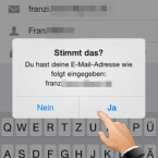 """Instagram zeigt Ihre E-Mail-Adresse noch einmal an. Vergewissern Sie sich, dass die eingegebene E-Mail-Adresse stimmt. Ist diese korrekt, tippen Sie auf """"Ja"""". (Bild: Screenshot/Instagram)"""