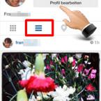 """Tippen Sie in der unteren Menüleiste auf das rechte """"Kartensymbol"""". Sie gelangen so zu Ihrer Seite. Damit Ihre Bilder nicht für jeden öffentlich zugänglich sind, tippen Sie auf """"Profil bearbeiten"""" und rufen die Privatsphäre-Einstellungen auf. (Bild: Screenshot/Instagram)"""
