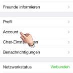 """In den Einstellungen des Messengers wählen Sie den Punkt """"Account"""" aus. (Bild: Screenshot/WhatsApp für iPhone)"""