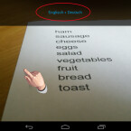 Jetzt wählen Sie über den Button unten rechts entweder ein Foto aus Ihrer Galerie oder Sie fotografieren ein vor Ihnen liegendes Blatt, die Speisekarte oder ein Plakat. Tippen Sie dazu auf eine beliebige Stelle des Bildschirms. (Bild: Screenshot/Google Übersetzer für Android)
