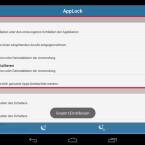 Zu den Systemfunktionen, die Sie mit der Android-App schützen, gehören beispielsweise die Android-Einstellungen, die Deinstallation der App und der gesamte Google Play Store. Auch ankommende Anrufe lassen sich schützen. Am rechten Bildschirmrand finden Sie jeweils einen Schalter, mit dem Sie den Schutz aktivieren. Setzen Sie zum Beispiel den Schalter hinter Einstellungen auf an, indem Sie ihn nach rechts schieben. (Bild: Screenshot/Schützen (AppLock))