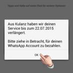 Nachdem der neue Account durch Eingabe des SMS-Codes verifiziert wurde, wird der alte Account gelöscht und Ihre Daten auf den Account mit Ihrer neuen Handynummer übertragen. In unserem Fall hat WhatsApp sogar ein vollständiges kostenfreies Jahr spendiert. (Bild: Screenshot/WhatsApp für Android)