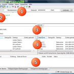 Nach dem Start des FTP-Clients ist das Fenster in fünf Bereiche geteilt. Oben unter dem Menü finden Sie die Serverleiste (1), über die Sie die Verbindung zum FTP-Server aufbauen. Gleich darunter sehen Sie das Nachrichtenprotokoll (2). Dann wird das Fenster noch einmal vertikal geteilt. Links sehen Sie den Verzeichnisbaum (3) und darunter den Ordnerinhalt (4) des lokalen Computers. Rechts daneben ist der Verzeichnisbaum und der Ordnerinhalt des FTP-Servers zu erkennen. Unten befindet sich die Warteschlangen-Anzeige (5). (Bild: Screenshot/FileZilla)
