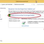 Auf der Übersichtsseite erkennen Sie oberhalb der zusammengefassten Einstellungen, ob die Funktion eingeschaltet ist. Über den Button unterhalb der Einstellungen des Dateiversionsverlaufs schalten Sie die Funktion jederzeit an oder aus. (Bild: Screenshot/Windows 8)