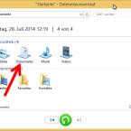 """Sie sehen jetzt alle in der Datensicherung enthaltenen Ordner Ihrer Bibliothek. Um eine Datei selektiv wiederherzustellen, navigieren Sie zu dem ursprünglichen Speicherort, indem Sie beispielsweise """"Dokumente"""" auswählen und danach den betreffenden Ordner öffnen. Alternativ suchen Sie die Datei über das Suchfeld oben rechts. (Bild: Screenshot/Windows 8)"""