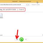 Am ursprünglichen Speicherort angekommen, sehen Sie die letzte Sicherung und alle enthaltenen Dateien des Ordners. Über die Pfeiltaste am unteren Fensterrand drehen Sie die Zeit zurück und navigieren zu einer älteren Dateiversion. (Bild: Screenshot/Windows 8)