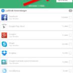 """Damit Sie zukünftig zum Bereinigen des Arbeitsspeichers Clean Master nicht erst öffnen müssen, erstellen Sie über das Menü rechts oben ein Widget für Ihren Homescreen. Außerdem konfigurieren Sie die """"Auto-Kill""""-Funktion, mit der Apps automatisch bei bestimmten Ereignissen geschlossen werden. Auch die Ignorierliste sehen Sie über das Menü ein und bearbeiten die eingetragenen Apps. (Bild: Screenshot/Clean Master)"""