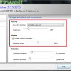 """Auf der Registerkarte """"Appearance"""" legen Sie fest, ob der Desktop hinter den angezeigten Fenstern durchscheinen soll und wie intensiv die Transparenz ist. Aktivieren Sie das Häkchen vor """"Enable window numbers"""", können Sie über die Zifferntasten zu den einzelnen Fenstern wechseln. (Bild: Screenshot/Switcher)"""