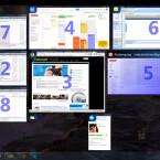 Nachdem Sie die festgelegte Tastenkombination betätigt haben, zeigt Switcher alle geöffneten Fenster verkleinert auf Ihrem Bildschirm an. Um ein Fenster in den Vordergrund zu holen, nutzen Sie entweder die Zifferntasten auf der Tastatur, navigieren mit den Pfeiltasten Ihrer Tastatur oder klicken das Fenster mit der Maus an. (Bild: Screenshot/Switcher)