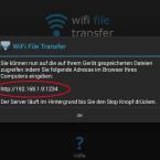 Auf Ihrem Smartphone wird die IP-Adresse angezeigt, über die Sie vom Webbrowser auf Ihre Dateien zugreifen. (Bild: Screenshot / WiFi File Transfer)
