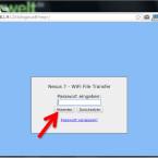 """Geben Sie am PC die IP-Adresse in die Adresszeile Ihres Webbrowsers ein und bestätigen Sie diese mit [Enter]. Wenn Sie ein Zugriffspasswort festgelegt haben, müssen Sie dieses jetzt eingeben. Anschließend klicken Sie auf """"Absenden"""". (Bild: Screenshot / WiFi File Transfer)"""