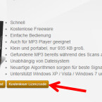"""Sind Sie beim Installationsprozess an dem Punkt angekommen, wo Sie den Lizenzcode eingeben sollen, wechseln Sie auf die Webseite des Entwicklers. Dort finden Sie einen Link """"Kostenloser Lizenzcode"""". Klicken Sie diesen an. (Bild: Screenshot/datenambulanz.de)"""