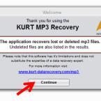 """Um den Installationsprozess abzuschließen, klicken Sie im nächsten Fenster auf """"Continue"""". Anschließend öffnet sich die Software automatisch. (Bild: Screenshot/KUERT MP3 Datenrettung)"""