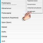 """Die Einstellungen des E-Mail-Kontos ändern Sie jederzeit, indem Sie das E-Mail-Konto antippen und oben rechts die drei kleinen Punkte anklicken. Im Menü wählen Sie """"Einstellungen"""" aus. (Bild: Screenshot/K-9 Mail)"""