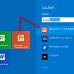 """Starten Sie unter Windows 8 die Suche. Tragen Sie """"PowerPoint"""" ein. Nach den ersten eingegebenen Buchstaben wird Ihnen die App angezeigt. Klicken Sie auf """"Microsoft PowerPoint 2010"""". Haben Sie bereits eine Kachel des Programms angelegt, klicken Sie diese mit der linken Maustaste an. PowerPoint startet. (Bild: Screenshot/Windows 8)"""