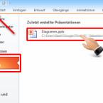 """Haben Sie schon eine vorbereitete Präsentation auf Ihrem PC abgespeichert, wählen Sie links oben im Programm die Schaltfläche """"Datei"""". Unter dem Punkt """"Zuletzt verwendet"""" sehen Sie Ihre erstellten Präsentationen. Ein Doppelklick mit der linken Maustaste öffnet die Datei. Ein leeres Dokument starten Sie mit der Schaltfläche """"Neu"""". (Bild: Screenshot/Microsoft PowerPoint 2010)"""