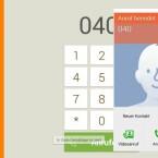 Die asina-Oberfläche bringt einen übersichtlichen Telefon-Dialer mit. (Bild: Screenshot)