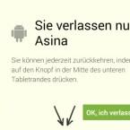 Das asina-Interface kann jederzeit verlassen und in den regulären Android-Betrieb gewechselt werden. (Bild: Screenshot)