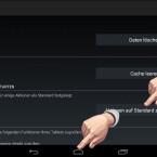"""Sie gelangen in die App-Info des aktuellen Standard-Launchers. Scrollen Sie nach unten bis zur Schaltfläche """"Aktionen auf Standard zurücksetzen"""" und tippen Sie diese an. Dadurch wird die Zuweisung als Standard-App gelöscht. Tippen Sie danach auf die Home-Taste Ihres Smartphones oder Tablet-PCs. (Bild: Screenshot/Nexus 7)"""
