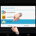 """Da keine App als Standard zugewiesen ist, wird nach Betätigen der Home-Taste wieder die Auswahl der Start-App angezeigt. Wählen Sie die gewünschte App aus und tippen Sie anschließend auf die Schaltfläche """"Immer"""", um diese als neue Standard-App zuzuweisen. (Bild: Screenshot/Nexus 7)"""