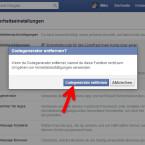 Bestätigt, dass der Codegenerator der Facebook-App nicht verwendet werden soll.