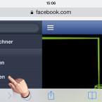 """Auf dem iPhone, iPad oder iPod touch rufen Sie die Webseite m.facebook.com auf. Loggen Sie sich ein und tippen Sie links oben auf die drei Balken, um das Menü aufzurufen. Tippen Sie im Menü auf """"Nachrichten"""". (Bild: Screenshot/Safari-Browser)"""