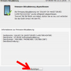 """Ist das Update erfolgreich abgeschlossen, informiert Sie Samsung Kies darüber. Klicken Sie auf """"Bestätigen"""", um das Fenster für die Aktualisierung zu schließen. (Bild: Screenshot/Samsung Kies)"""
