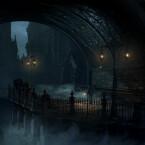 Die Gassen der finsteren, unwirtlichen Stadt Yharnham liegen in tiefem Nebel, Staubpartikel flirren durch den ewigen Nachthimmel und die Lichtstimmung wirkt bedrückend. (Bild: Sony)