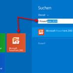 """Starten Sie die Suche unter Windows 8. Geben Sie """"PowerPoint"""" ein. Nach den ersten Buchstaben wird Ihnen das Programm angezeigt. Haben Sie auf Ihrem Desktop eine Kachel angelegt, klicken Sie diese an, um PowerPoint zu starten. (Bild: Screenshot/Windows 8)"""