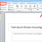 """In der Menüleiste am oberen Rand des Programmfensters klicken Sie auf """"Einfügen"""". Rechts sehen Sie jetzt das Feld """"Medien"""". Klicken Sie auf das kleine Dreieck unter der Schaltfläche """"Video"""". (Bild: Screenshot/Microsoft PowerPoint 2010)"""
