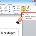 """Im aufklappenden Fenster wählen Sie den Eintrag """"Video aus Datei"""". Es öffnet sich nun der Datei-Browser Ihres Computers. Suchen Sie jetzt den Film aus, den Sie in die Präsentation einbinden wollen. (Bild: Screenshot/Microsoft PowerPoint 2010)"""
