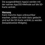 Die App unterstützt auch die native APP2SD-Methode, die keinen Root-Zugriff erfordert. (Bild: Screenshot)