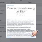 """Bestätige die Datenschutzbestimmungen für Eltern mit einem Klick auf """"Akzeptieren""""."""