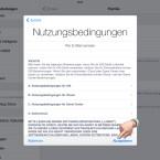 Jetzt musst du noch die AGBs für iOS, iCloud, das Game Center und iTunes bestätigen.