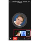 Am unteren Bildschirmrand siehst du, wer am Gespräch teilnimmt. Jeder Teilnehmer kann zu jeder Zeit seine Kamera zuschalten und auf diese Weise aus der Telefonkonferenz eine Videokonferenz machen.