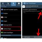 """In den Einstellungen deines Android-Smartphones wurde unter """"Konten"""" ein neues Konto für die iCloud-Kontakte hinzugefügt. Tippe """"iContact Sync"""" an, um die Synchronisierung zeitweise zu stoppen oder das Konto bei Bedarf zu entfernen."""