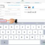 """Die Tastatur deines iPhone wird automatisch aufgerufen. Das Kreditkartenfeld wird erkannt und die Auswahl """"Kreditkarte scannen"""" erscheint über der Tastatur. Tippe darauf."""